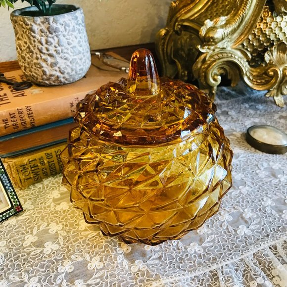 Vintage Italian Amber Rossini Candy dish with lid